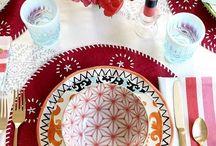 mesa posta / decoração em cima da mesa também!