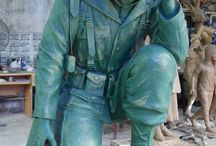 Bronze Life-Size Kneeling Army Soldier Creation