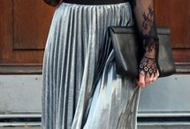 French Chic Metallic Skirt Outfit