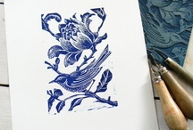 Lino print/Rubber stamp / gravure, engrave, handmade stamp, handmade print