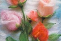 розы из шерсти