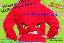 Wotsaface / Wacky faces on hoodies ,hats and t shirts
