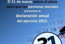 Presentación de la declaración anual del ejercicio 2015 / El 31 de marzo vence el plazo para que las #PersonasMorales presenten la #DeclaraciónAnual 2015. A continuación les proporcionamos la ruta para ingresar al sistema para hacer la declaración anual de este ejercicio:  www.sat.gob.mx | Trámites | Declaraciones | Anuales | Personas Morales