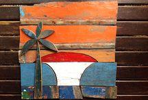 Surf natural / Arte feita com madeira de barco de pesca de Garopaba / by Tom Veiga