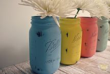 painted chalk jars