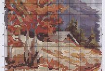 Krížikové vyšívanie-krajinky / zátišia-mestá