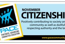 Citizenship / November's character trait is Citizenship: Positively contributing to society and community as well as dutifully respecting authority and the law.