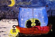 Igel-Romantiker - ёжики-романтики / von mir gemalt - нарисованы мной
