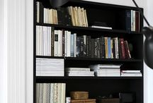 books LPs and shelves