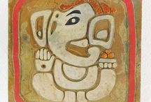 ganesh / Etched, handpainted and foiled natural stone ganesh