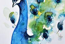 akvarel ptáci