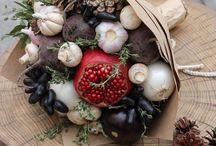 Bouquets fruits, vegetables / Вкусная флористика, фруктовые и овощные букеты. Вдохновение.