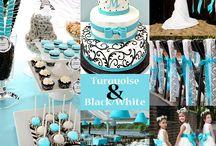 Turquoie black and white wedding