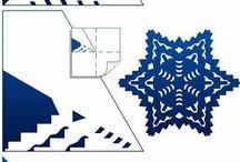Paper Snowflakes (folded cutting) / Kirigami Snowflakes