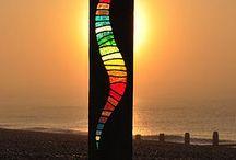 Holz/Glas Skulpturen
