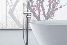 Contemporary Bathtub Tap Dual Handles Solid Brass Floor Mount Free Stand Tub Shower Mixer Faucet