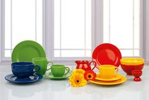 A Colorful Kitchen / Colorful dinnerware and tableware. Ceramic and porcelain dinnerware.