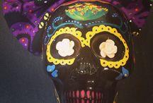 Dia De Los Muertos  / Handmade Dia De Los Muertos skulls aka day of the dead. From cast to colour.