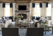Family Room / Contemporary Hampton's style with neutral blue colour scheme