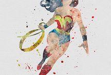 Aquarela super heróis