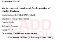 job offers BE/ DIPLOMA(CIVIL ) interested MALE candidates apply for this job
