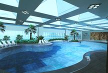 Classical Indoor Swimming Pool / Classical architectural columns dramatize these beautiful indoor swimming pool. Skylight and big windows draw natural light into the interiors.