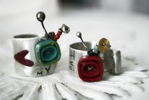 """Jewels made by Amalia// """"Love Your TV"""" rings, hand melted and hand engraved vintage rings / Pure silver (999 grades of silver), as it comes from earth. Handmade, 100% hand processed. Inspired by the artist's 80's childhood and made with sweet memories and nostalgic mood."""
