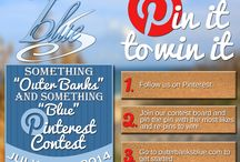 """Outer Banks Blue Pinterest Contest / To celebrate the launch of our new Pinterest page Outer Banks Blue is holding a Something """"Outer Banks"""" and Something """"Blue"""" Pinterest Contest. The winner is going to receive $400 off their next Outer Banks Blue vacation rental, plus a bunch of awesome beach goodies for your vacation! The runner up will receive $200 off their next Outer Banks Blue vacation rental."""