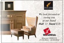 """I Saloni WorldWide Moscow 2014 / We look forward to seeing you in Moscow CROCUS for """"I Saloni WorldWide Moscow 2014"""", from 15th to 18th October 2014 at Pavilion 11, Stand E18. Are celebrating their 10th edition and will bring to Moscow the industry's best home furnishings both for quality and range of goods. This year the exhibition returns with the 2014 edition where Tosato's collections will be exposed"""