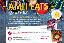 AMLI EATS / Submissions from the AMLI EATS fall comfort food recipe contest. Those who live at an AMLI community and had a fall comfort food recipe up their sleeves submitted their best work. The grand prize winner gets a private dinner with up to 10 of their friends and up to $500 in culinary prizes. Vote on the grand prize winner here: http://woobox.com/49b4sz