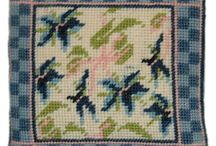 "Needlepoint Samplers / 6"" (30cm) tapestry needlepoint samplers which have a common chequered border making them ideal as the centre piece of a larger cushion or framed as a set. Great kits for taking on holiday or in hospital when you don't want to stitch a larger project. Full instructions, chart, wool, printed canvas & needle included in kit."