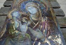 ikony i anielice ma.ryski / moje ikony w technice mixmediowej anioły carewny i czarownice