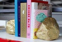rock gold sprayed book jolders