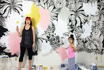 Flower painting a wall