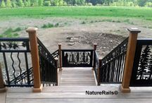 Stair Railing - Artistic Metal / Stair Railing that looks like a work of art. Powder coated steel or aluminum artistic designs rustic to modern by NatureRails.