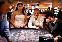 Las Vegas Wedding Photographer / Wedding couple gambling after Las Vegas Nevada Wedding. http://kentmeireisphotography.com