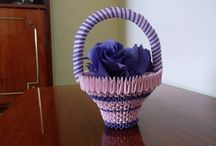 3D Origami bascket with flowers