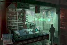 Sci-fi / Cyberpunk Interiors