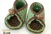 horgolt gyerek cipő