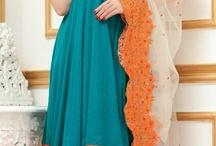 $102.87 Blue Short Sleeve Faux Georgette Knee Length Anarkali