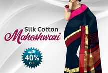 Maheshwari Sarees / Best Collection Of Top Maheshwari Sarees Online.
