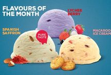 Flavours of the month - Spanish Saffron, Lychee Berry and Macaroon ice cream
