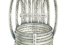 Charles Krypell Sterling Silver I Love You 7 Days A Week bangle bracelets