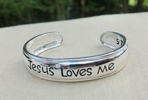 Cuff Bracelets for Infants & Toddlers / Sterling Silver Cuff Bracelets for Infants & Toddlers   Wonderfully Made   Jesus Loves Me