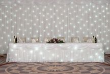 BACK DROPS AND TABLE SKIRTS / Stage and events room decoration