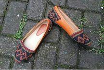 sepatu tenun mix kulit