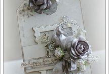 Grey /white wedding card