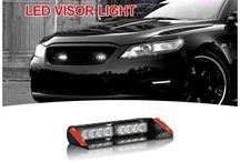LED VISOR LIGHT / LED Visor Lights for windshield,visor by simply using velcro Tape & suction cup & 3M adhesive. http://www.911signal.com/LED-Visor-Lights.html
