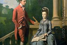 Paintings of couples, families and groups, 18th/19 centuries / Clothes