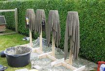 cement havevaser af gl håndklæder